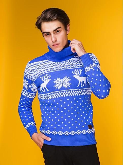 """Мужской свитер """"Олени"""" синий"""