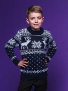 """Детский свитер """"Олени"""" тёмно-синий"""