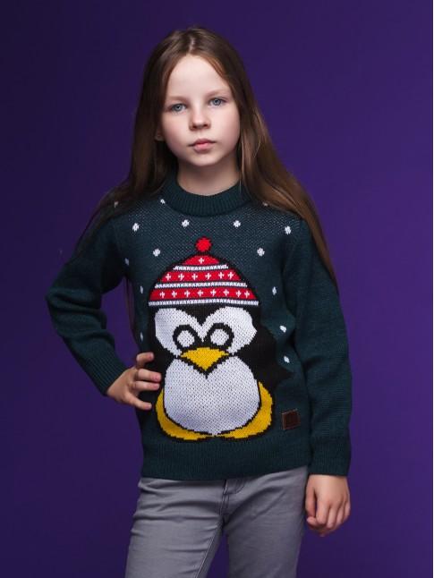 """Детский свитер """"Пингвин"""" зелёный"""