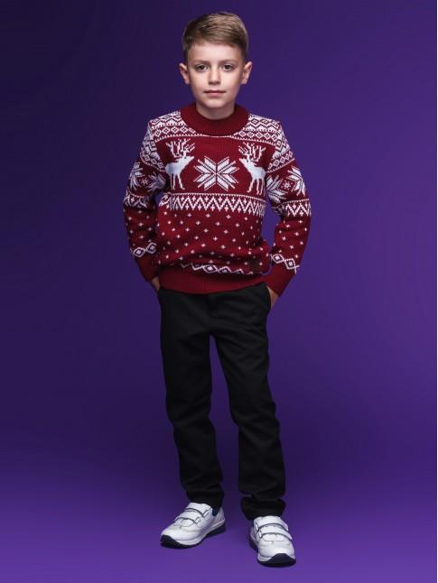 """Детский свитер """"Олени"""" бордовый"""