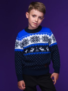 "Детский свитер ""Новогодний"" синий"