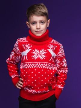 """Детский свитер """"Олени"""" красный"""
