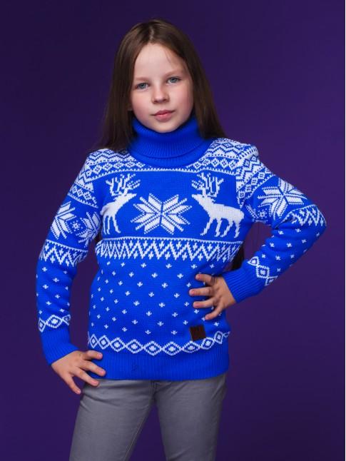 """Детский свитер """"Олени"""" синий"""