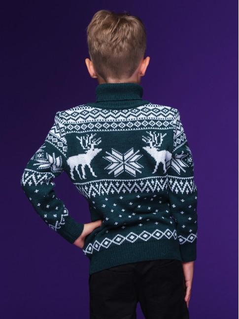 """Детский свитер """"Олени"""" зелёный"""