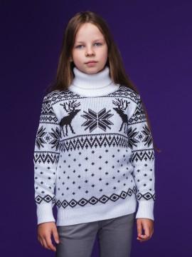 """Детский свитер """"Олени"""" чёрно-белый"""