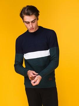 """Мужской свитер """"С полоской"""" трёхцветный"""