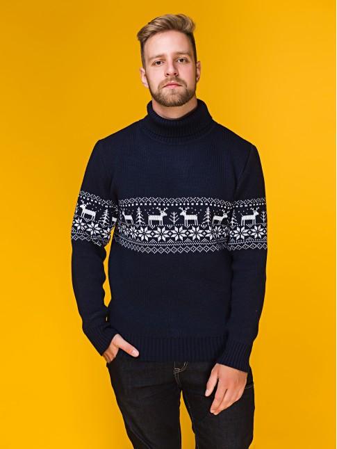 """Мужской свитер """"Оленья тропа"""" тёмно-синий"""