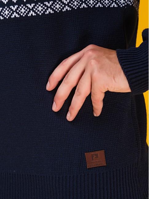 """Мужской свитер """"Лоси"""" тёмно-синий"""