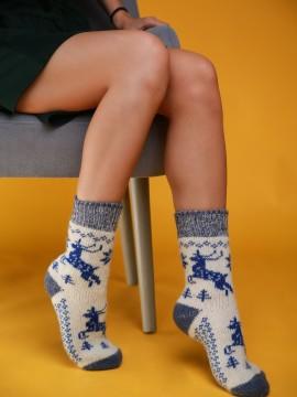"""Женские носки """"Белые с синими оленями"""""""