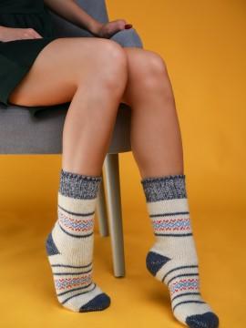 """Женские носки """"Белые с серыми вставками"""""""
