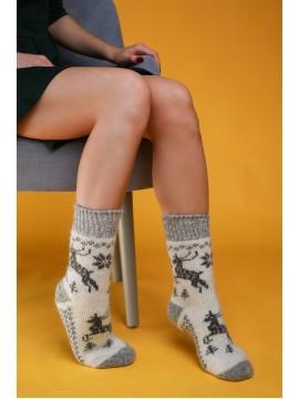 """Женские носки """"Белые с серыми оленями"""""""