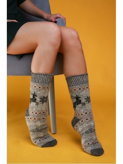 """Женские носки """"Серые с черными оленями"""""""