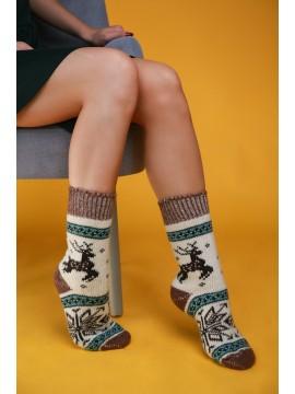 """Женские носки """"Белые с коричневыми вставками"""""""