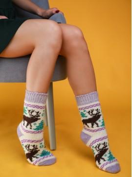 """Женские носки """"Белые с фиолетовыми вставками"""""""