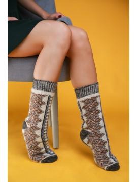 """Мужские носки """"Серые с коричневыми узорами"""""""