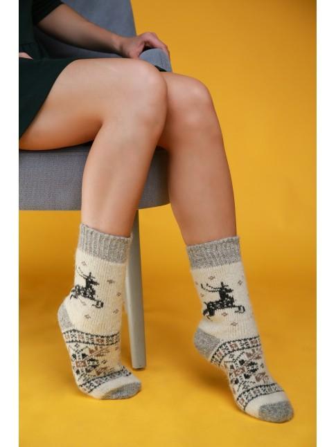 """Женские носки """"Серые с черными оленями 2"""""""
