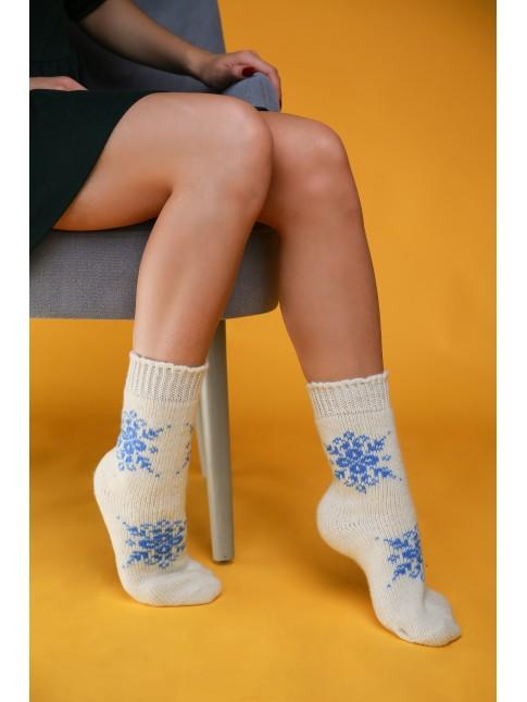 """Женские носки """"Белые со снежинками"""""""