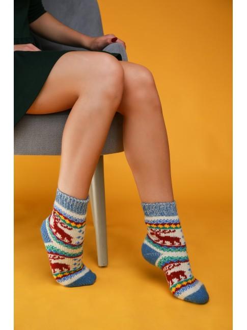 """Женские носки """"Синие с красными оленями"""""""