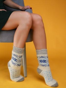 "Женские носки ""Белые с синим узором"""