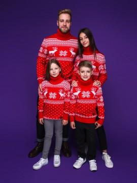 """Семейные свитера """"Олени"""" красного цвета"""