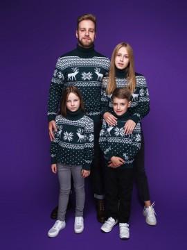 """Семейные свитера """"Олени"""" зелёного цвета"""