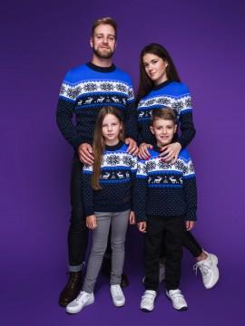 """Семейные свитера """"Новогодний"""" синего цвета"""
