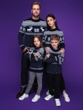 """Семейные свитера """"Олени"""" тёмно-синего цвета"""