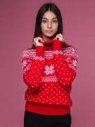 """Женский свитер """"Олени"""" красный"""