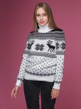 """Женский свитер """"Олени"""" чёрно-белый"""