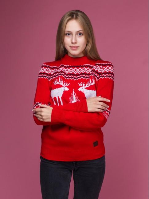 """Женский свитер """"Лоси"""" красный"""