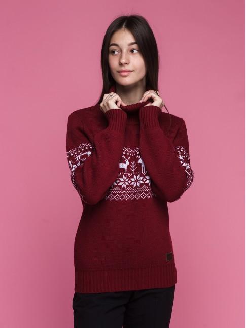 """Женский свитер """"Оленья тропа"""" бордовый"""