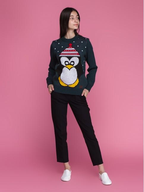 """Женский свитер """"Пингвин"""" зелёный"""